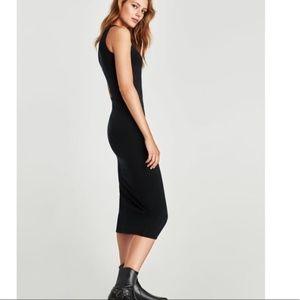 ZARA KNIT   Bodycon Leather Trim Dress M412